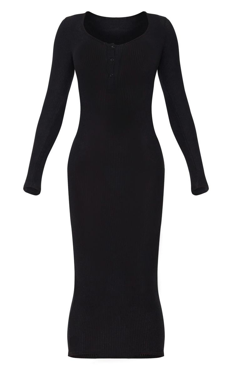 Tall Black Soft Rib Button Front Long Sleeve Midi Dress 3