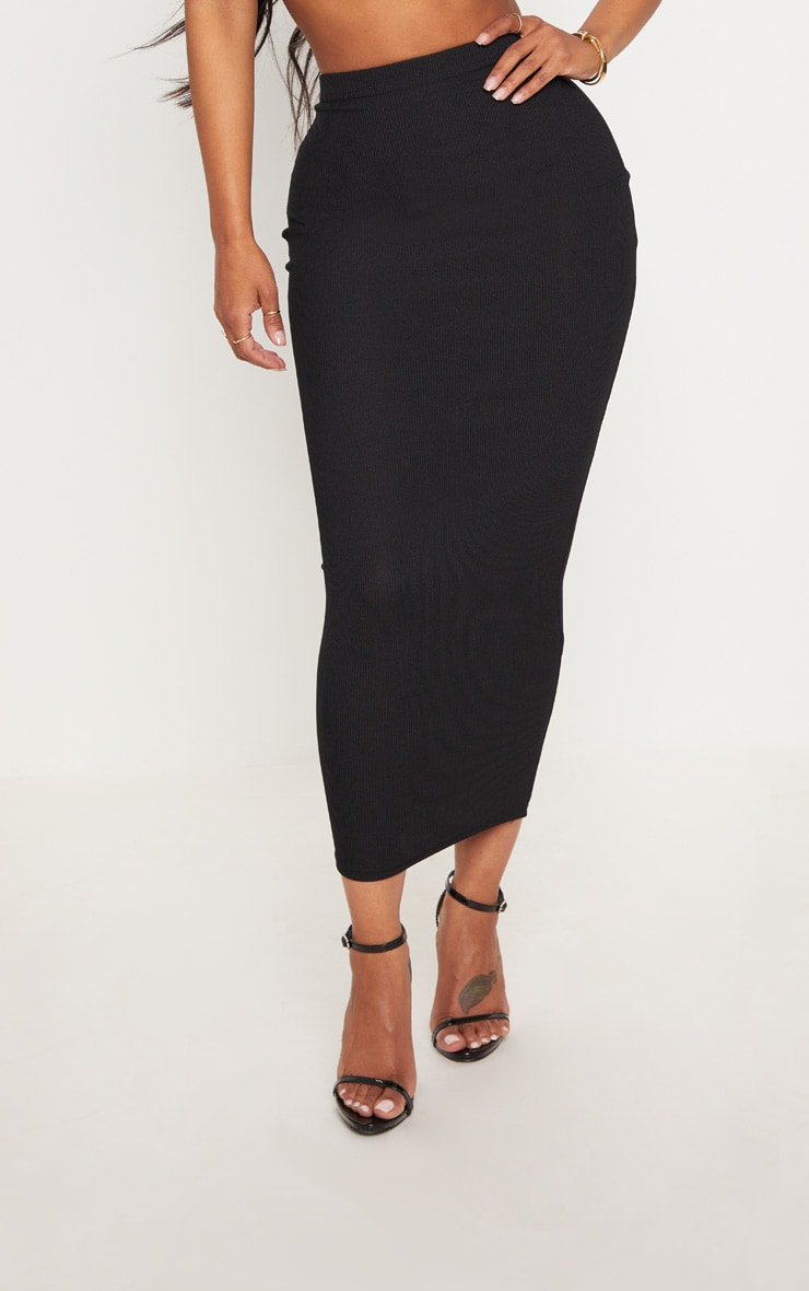 Shape Black Longline Midi Skirt 2