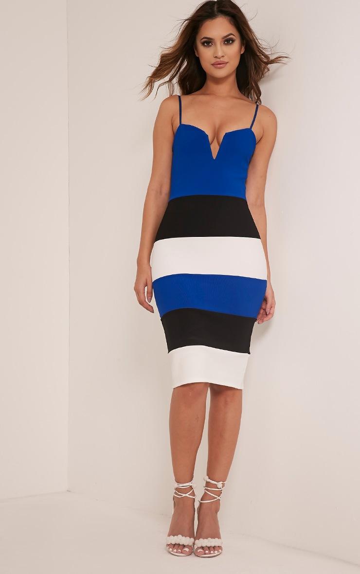 Ebony Cobalt Contrast Colour Block Bandage Dress 5
