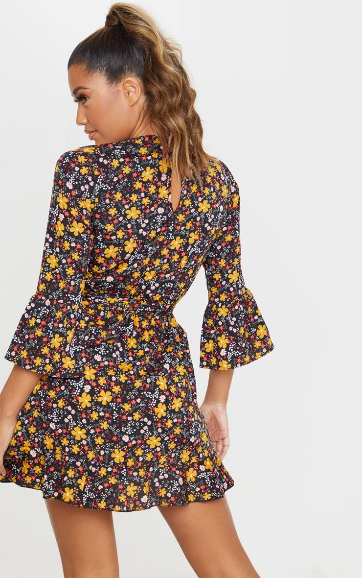 Black Floral Frill Hem Wrap Front Tea Dress 2