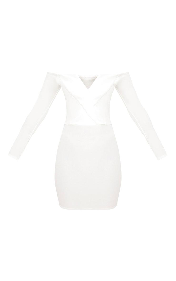 White Bardot Blazer Bodycon Dress  3