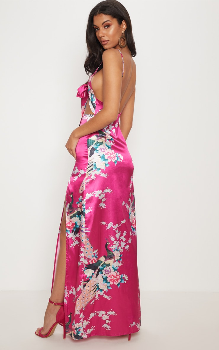 Pink Oriental Tie Front Cut Out Maxi Dress 2