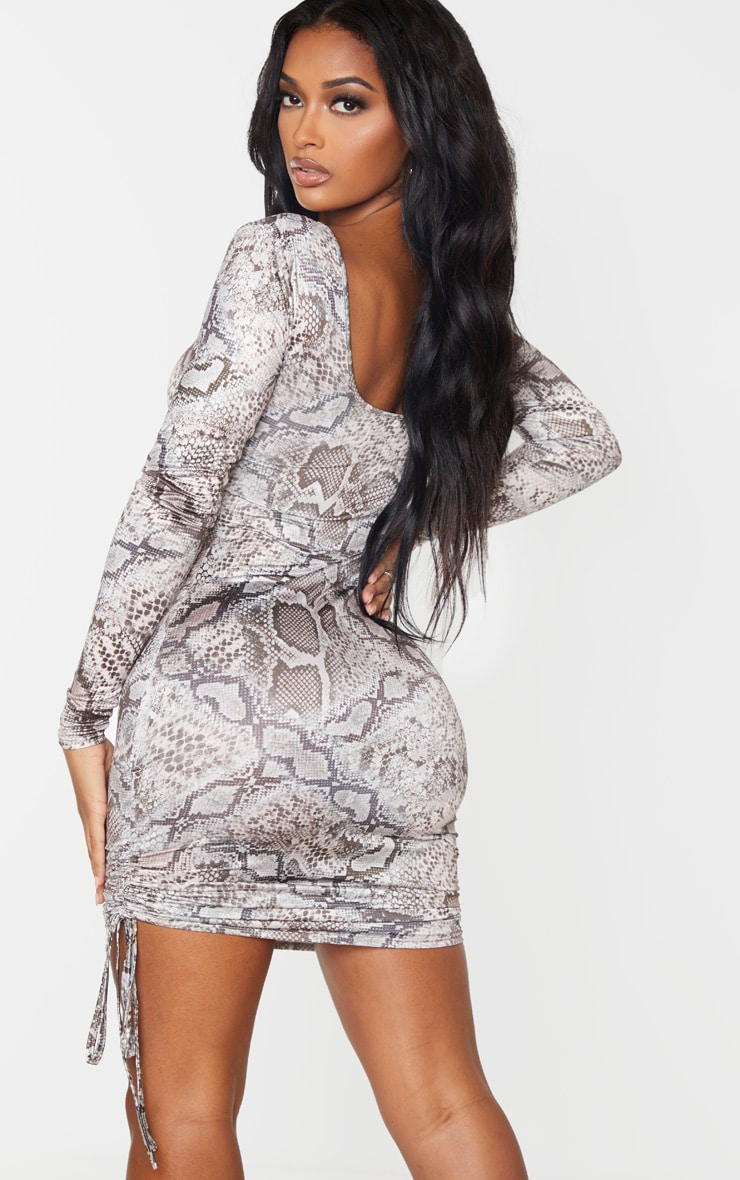 Shape Taupe Snake Print Ruched Detail Long Sleeve Bodycon Dress 2