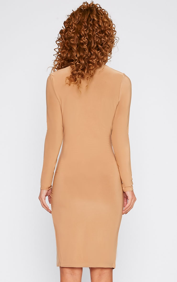 Iona Camel Slinky Wrap Over Gathered Mini Dress 3
