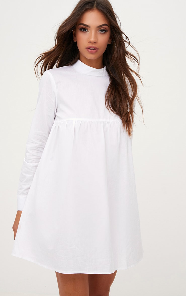 White Cotton Poplin High Neck Smock Dress 1