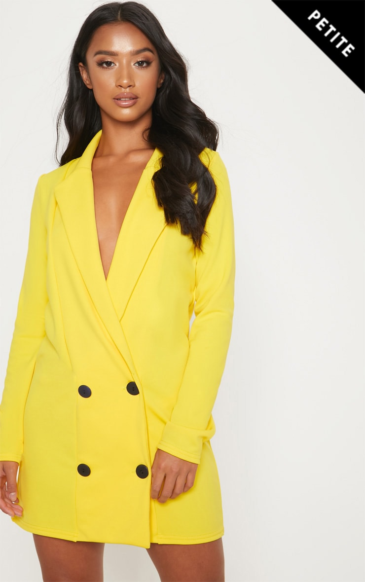 Petite Yellow Button Detail Blazer Dress by Prettylittlething