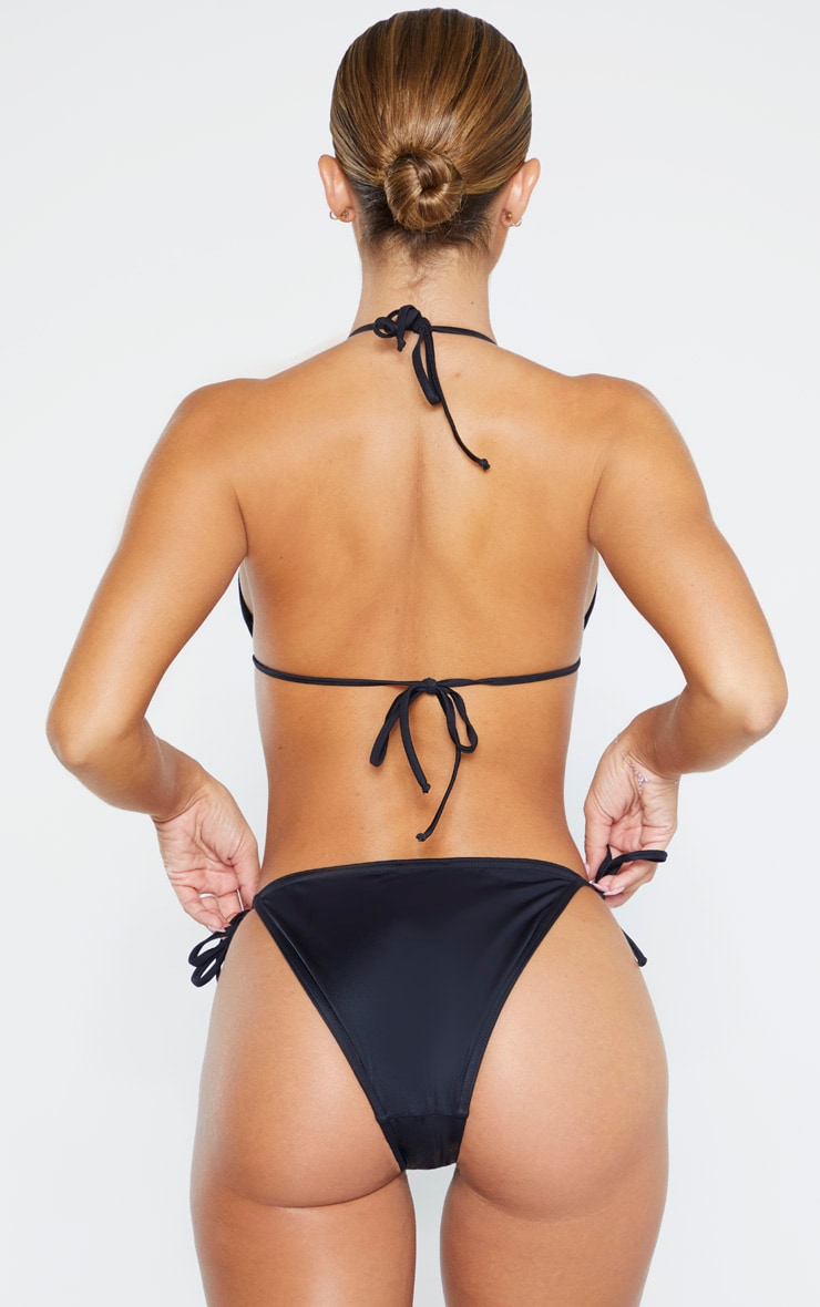 Black Recycled Fabric Mix & Match Tie Side Bikini Bottom 3