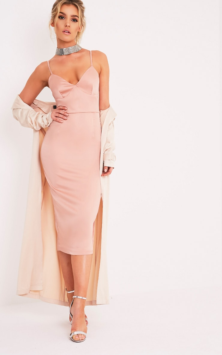 Aisha Nude Satin Panel Midi Dress 1
