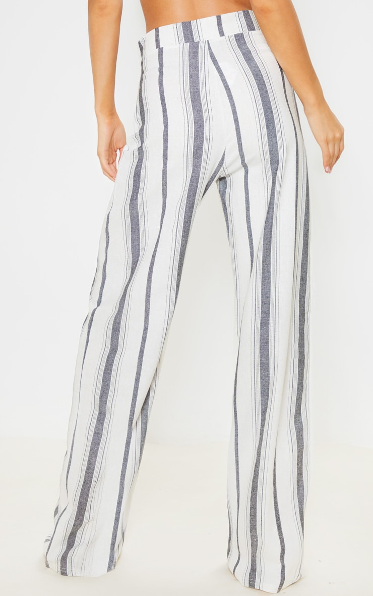 Mono Stripe Linen Wide Leg Pants 4