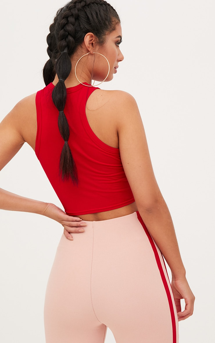 Basic Red Jersey Racerback Crop Top 2