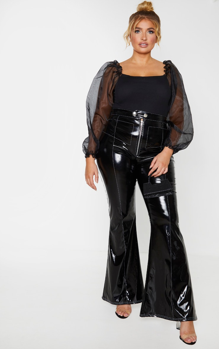 Plus Black Organza Long Sleeve Top 4