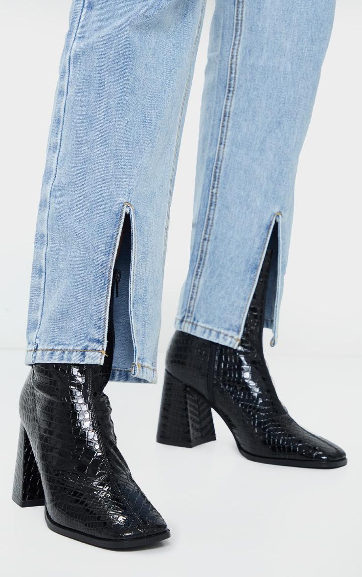 Black Croc Up Square Toe Mid Flare Block Heel Sock Boots 2