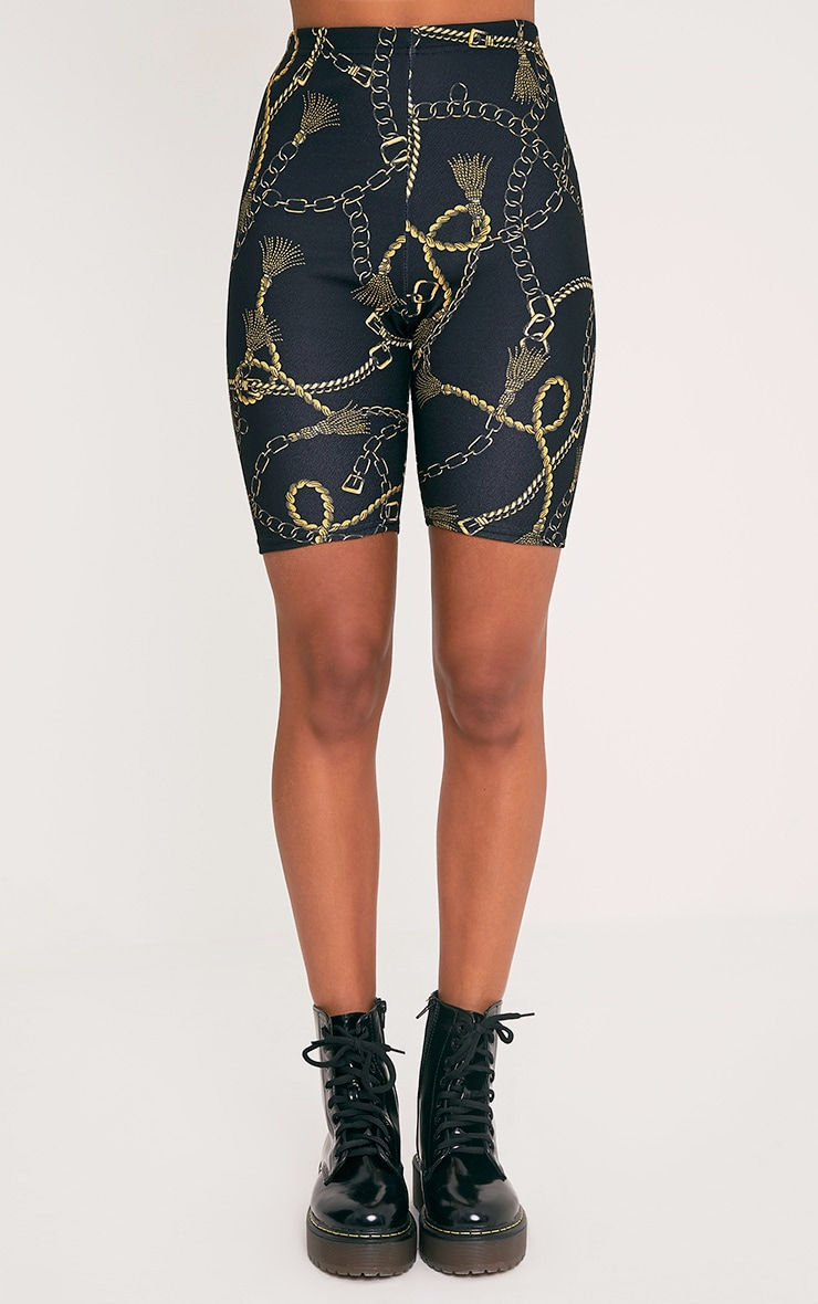 Lavinia Black Chain Print Cycle Shorts 3