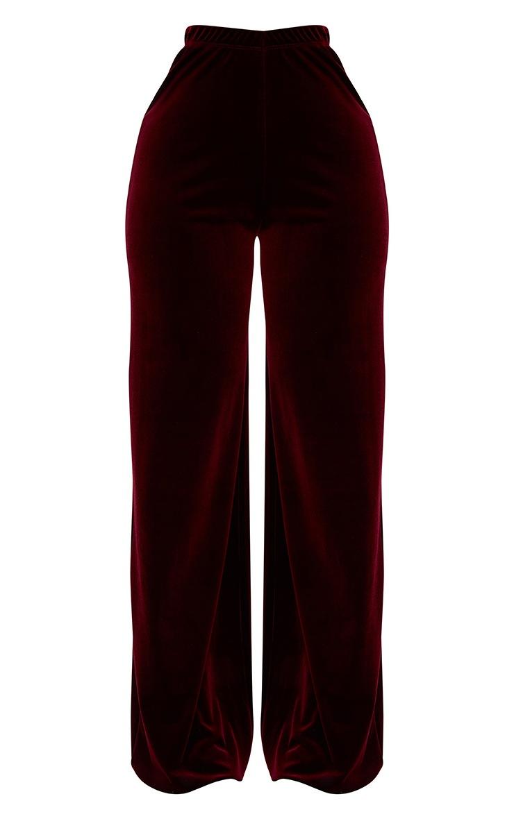 Shape Wine Velvet Wide Leg Trousers  3