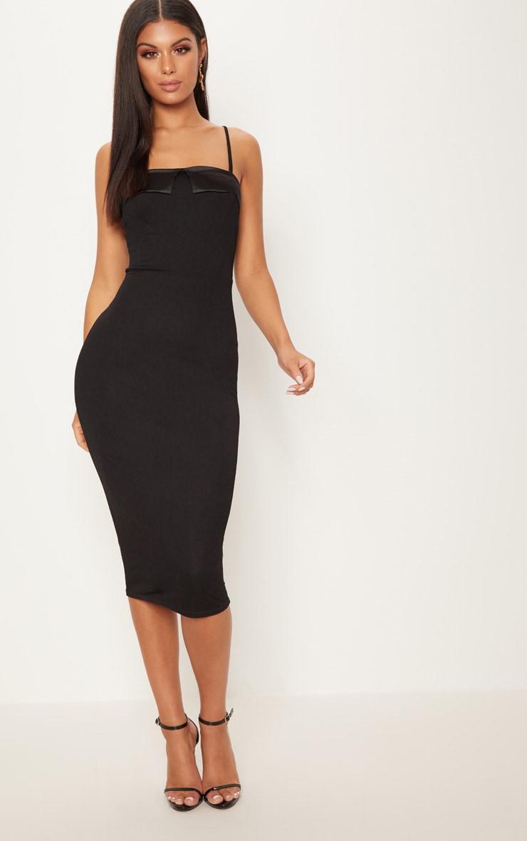 Black Strappy Satin Lapel Bodycon Midi Dress 1