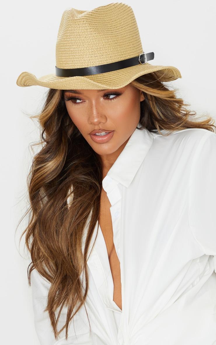 Natural Straw Western Fedora Hat 1