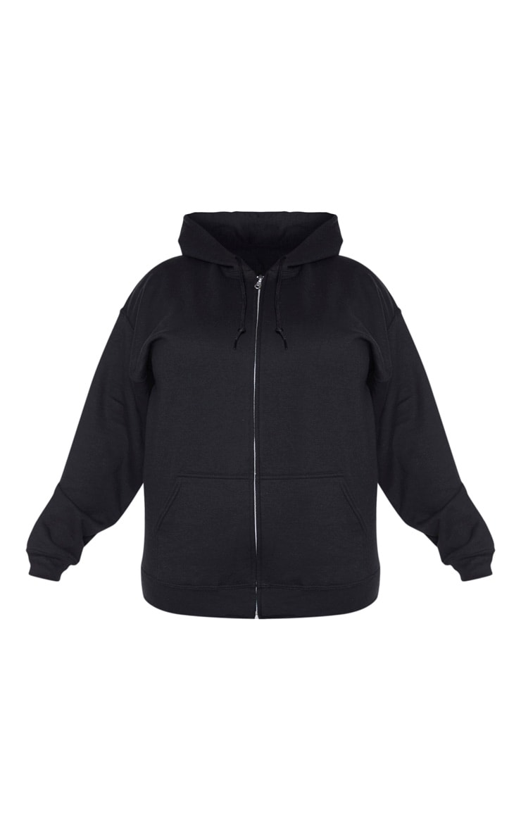 Plus Black Fleece Zip Up Hoodie 5