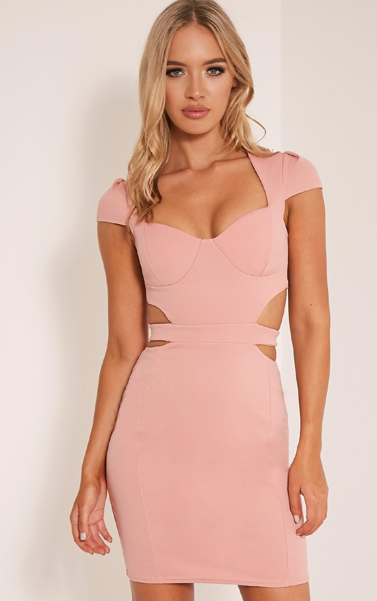 Monica Dusty Pink Capped Sleeve Crepe Panel Bodycon Dress 1