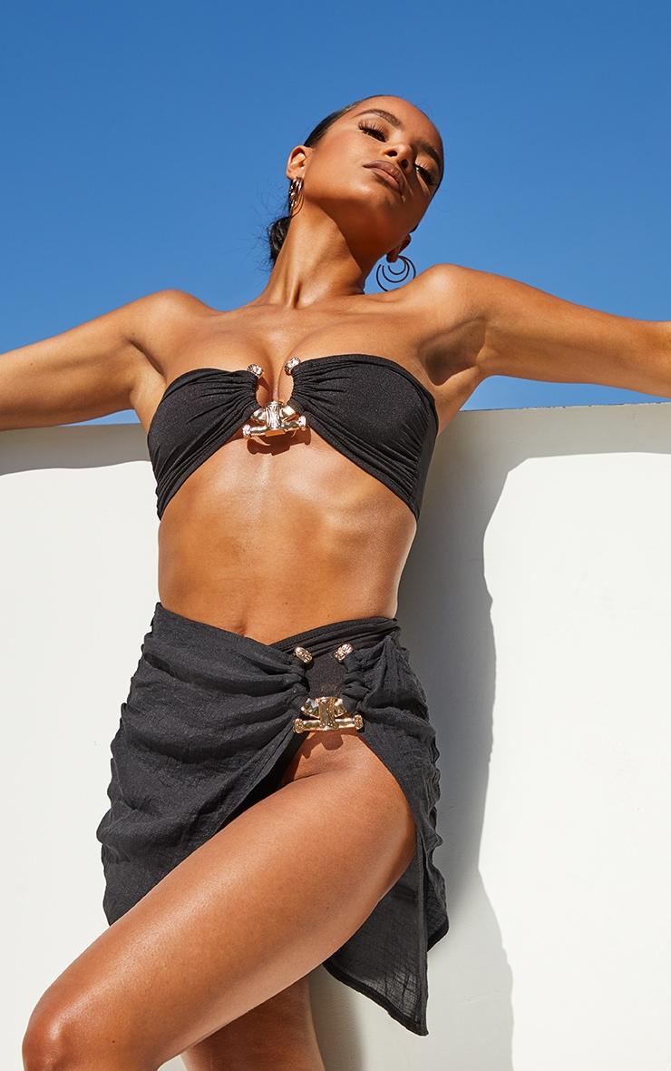 Black Linen Look Hammered Trim Beach Skirt 4