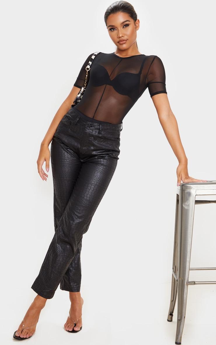 Black Sheer Mesh Short Sleeve Bodysuit 3