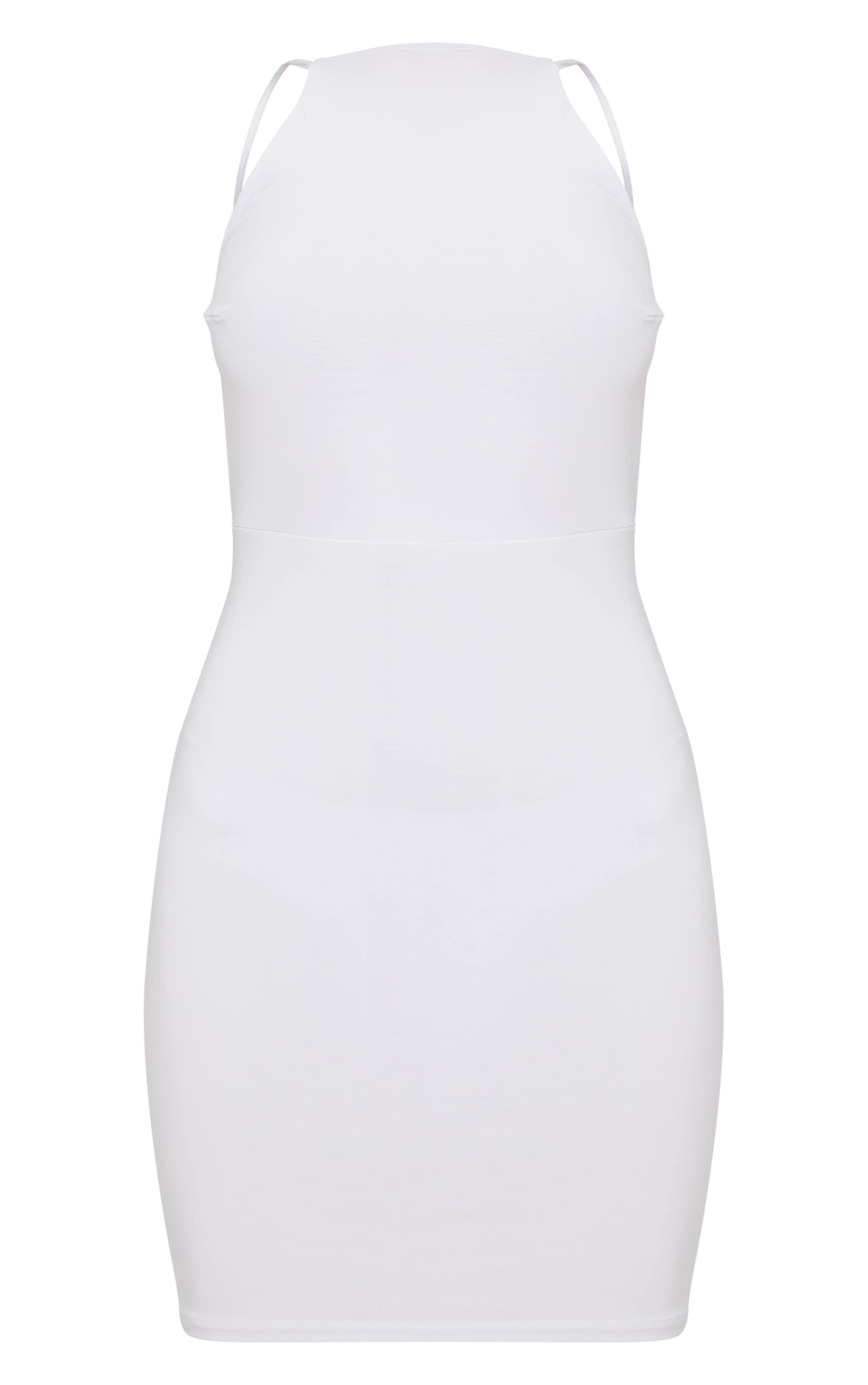White Double Layer Slinky Halterneck Twist Low Back Detail Bodycon Dress 3