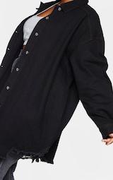 Plus Black Oversized Ripped Hem Denim Shirt 4