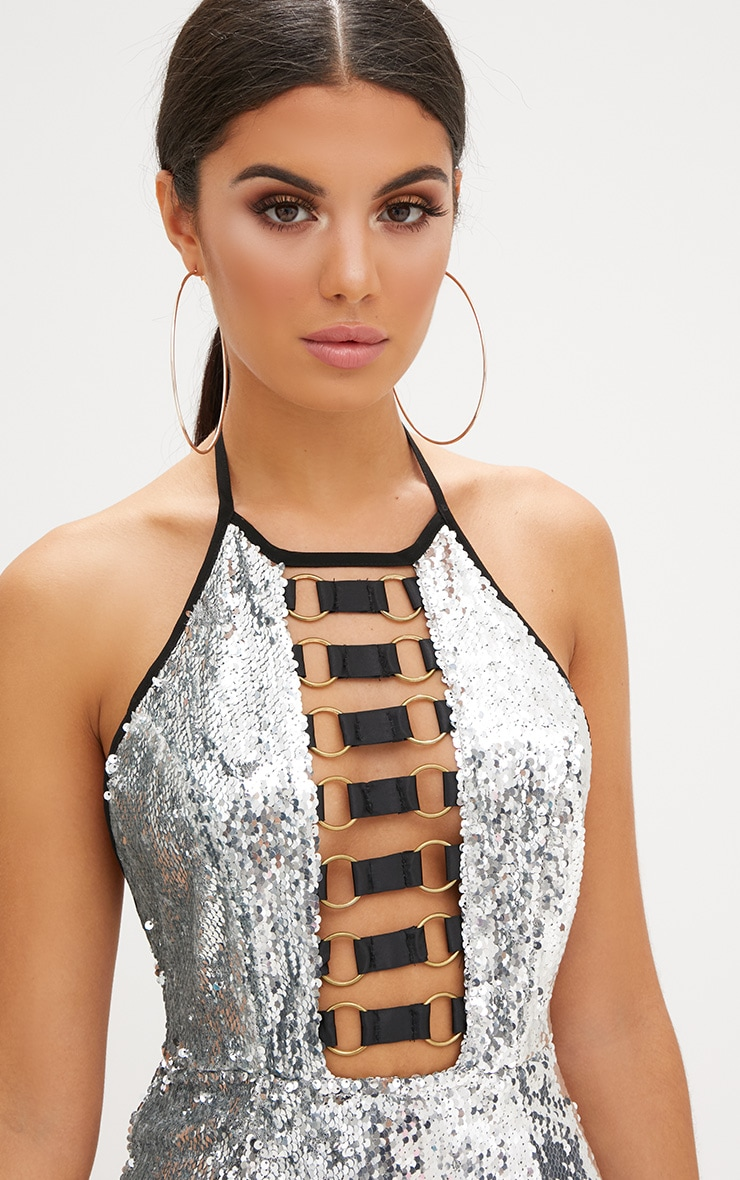 Silver Sequin Ring Detail Bodycon Dress 5