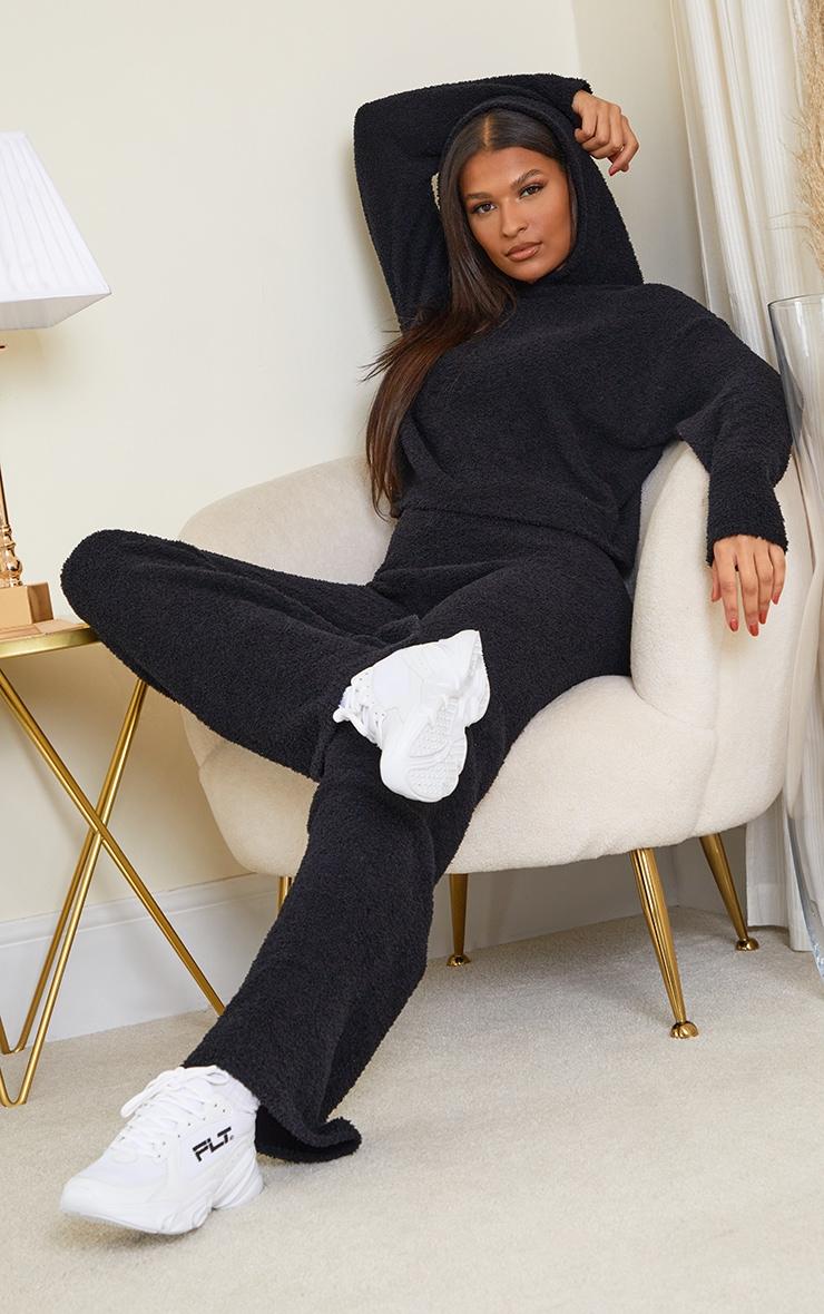 Black Premium Fluffy Knitted Hooded Wide Leg Set 1