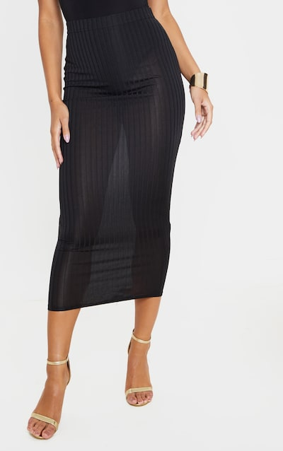 Black Slinky Rib Midi Skirt