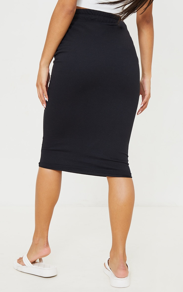 Black Ponte Deep Waistband Midi Skirt 3