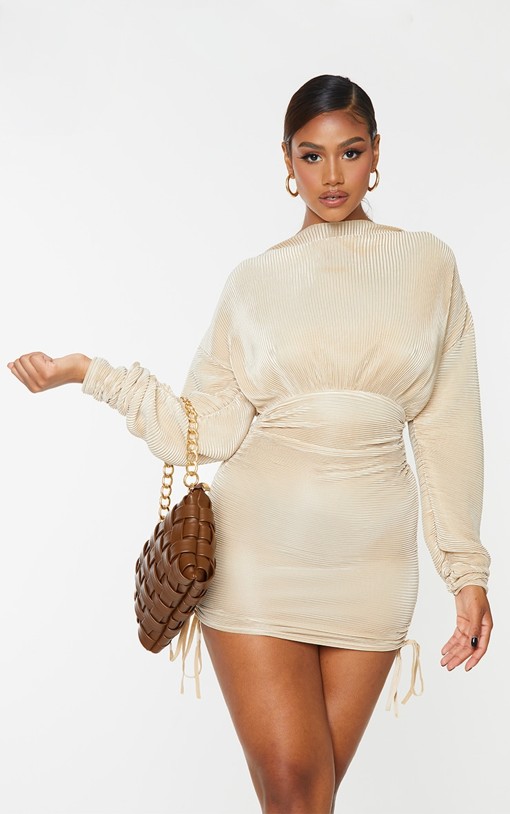 Champagne Plisse Detail Long Sleeve Ruched Skirt Bodycon Dress 1