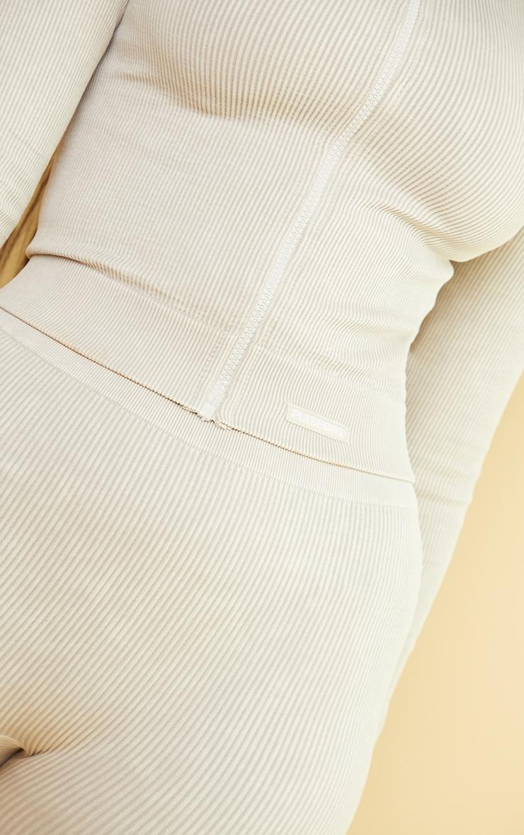 Oatmeal Acid Wash Seamless Ribbed Zip Up Cropped Sports Jacket 4
