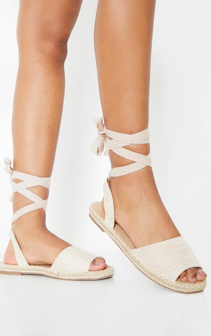 Nude Peeptoe Espadrille Lace Up Flat Sandal 1
