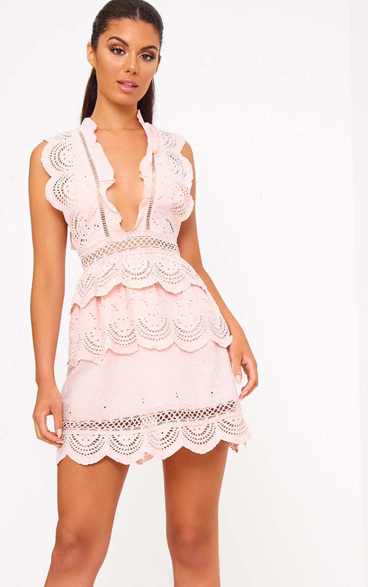 0a2deecf690 Dusty Pink Crochet Lace Plunge Swing Dress image 1