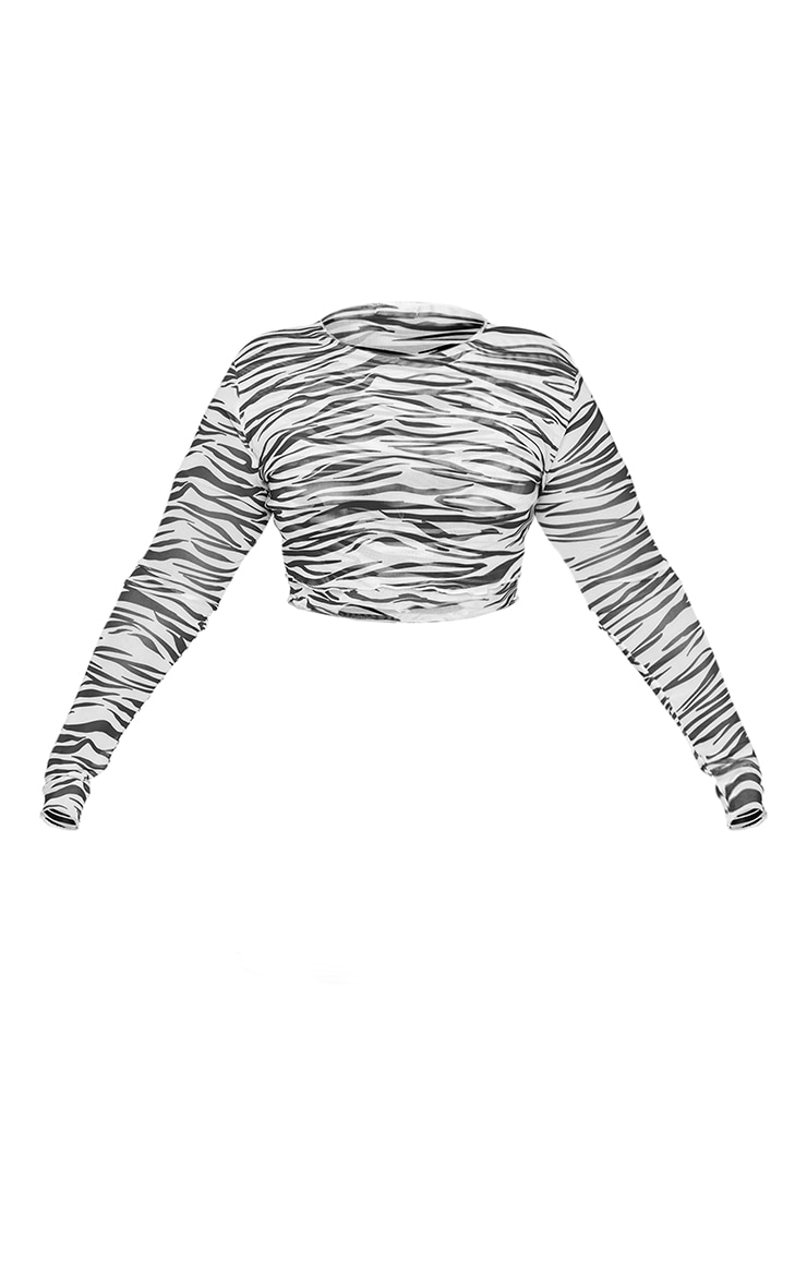 Plus Black Zebra Print Mesh Layered Crop Top 5