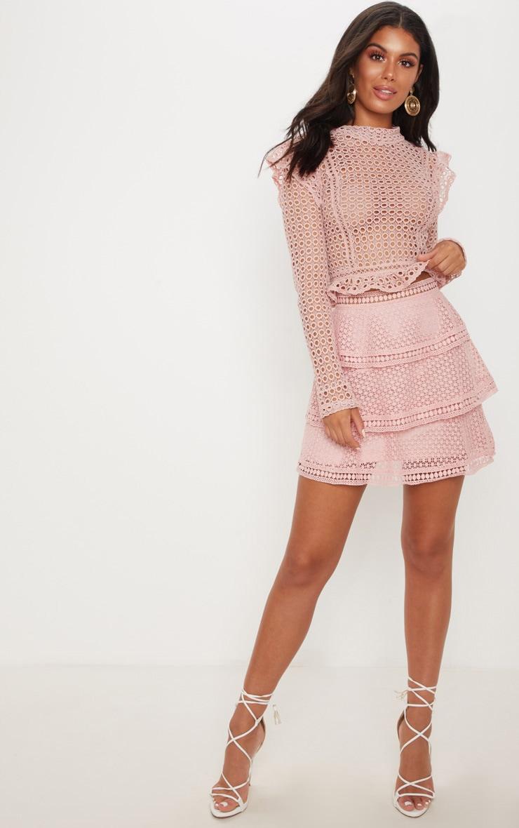 Pink Crochet Tiered Frill Mini Skirt 5
