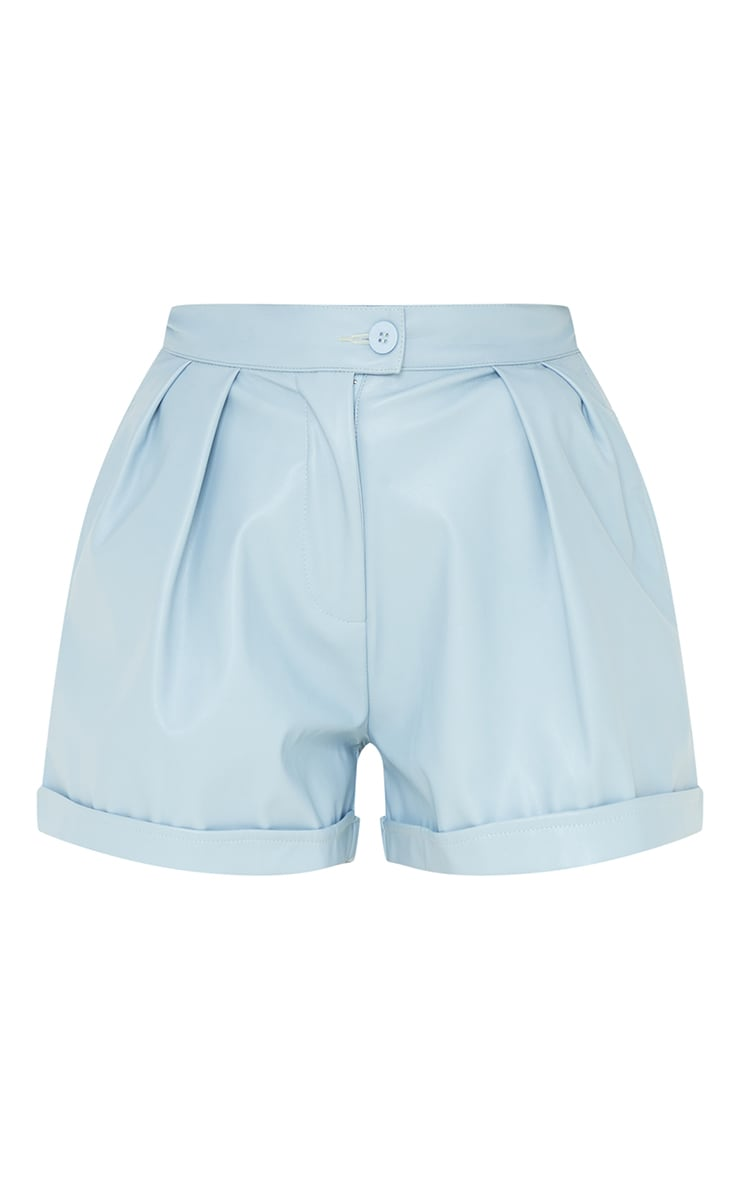 Baby Blue Faux Leather Pleat Detail Shorts 6