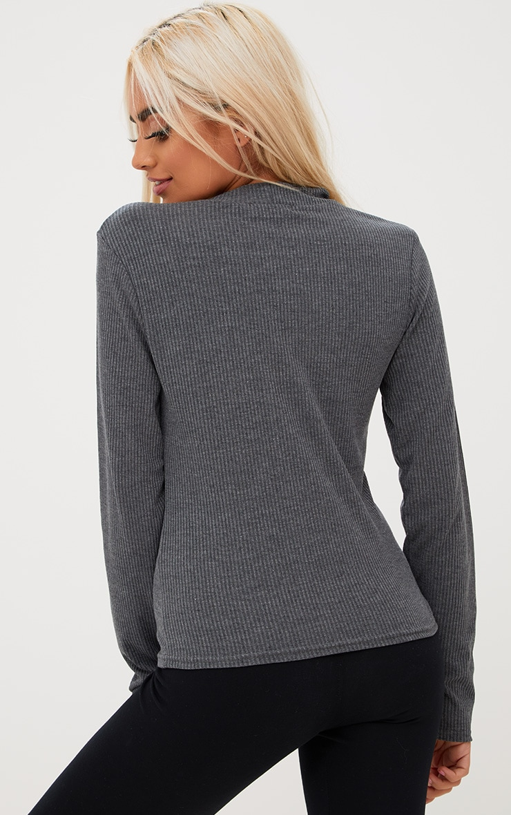 Grey Ribbed High Neck Longsleeve Top 2