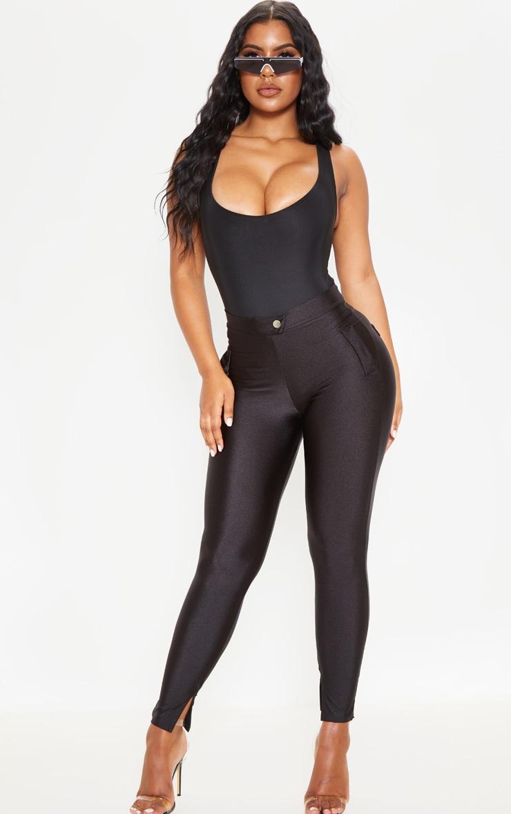 Black Disco Split Hem Skinny Pants 1