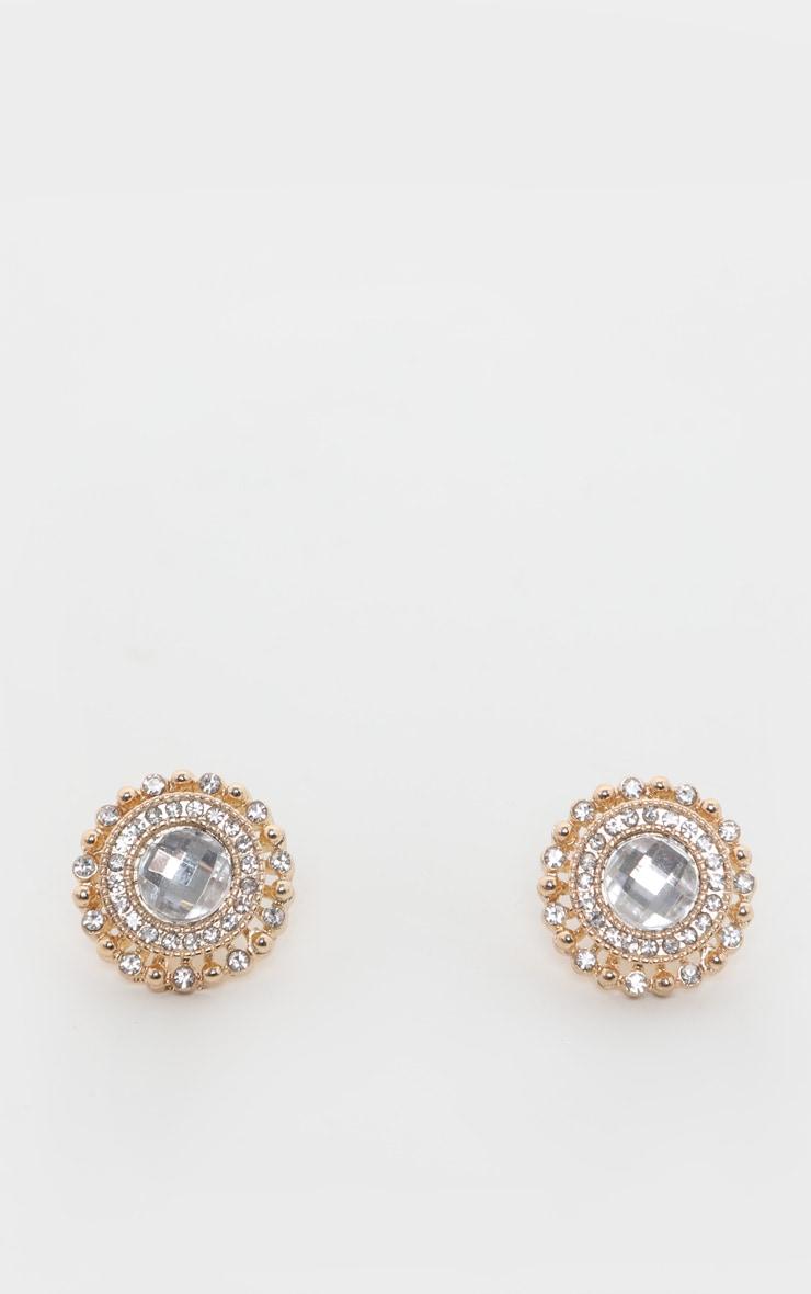 White Crystal Diamante Stud Earrings 2