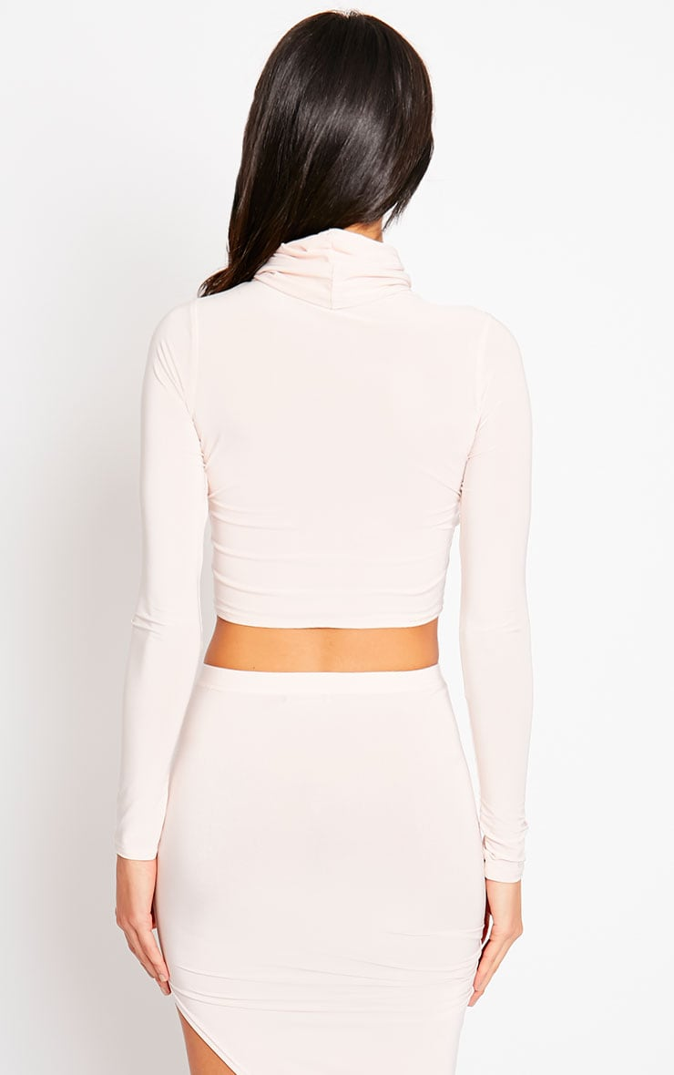 Alba Nude Roll Neck Crop Top 2