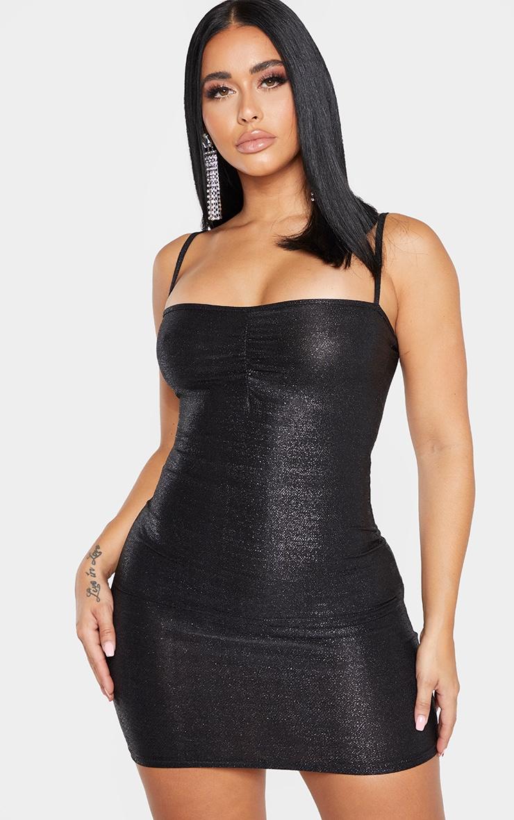 Shape Black Glitter Skinny Strap Ruched Bust Bodycon Dress 1