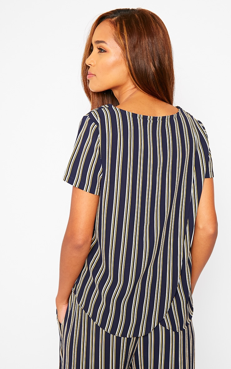 Kali Navy Stripe Drop Hem Tee 5