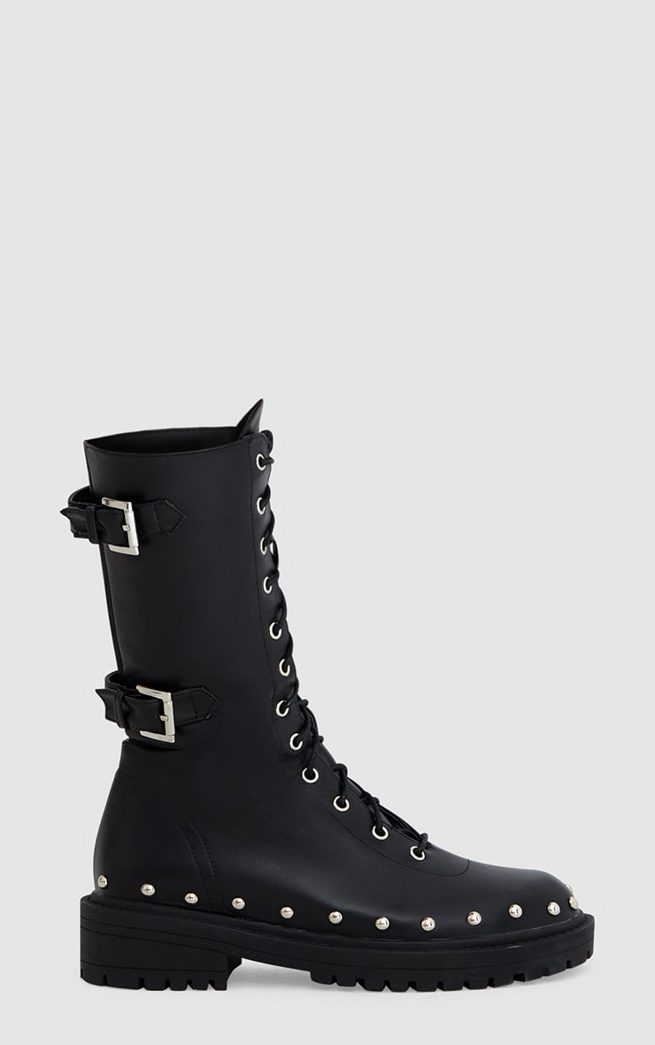 Black Chunky Hard Wear Lace Up Ankle Boots 4