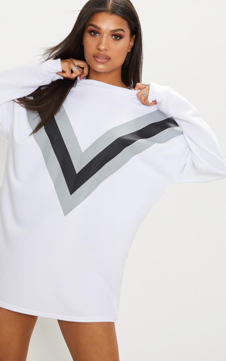 White Chevron Oversized Jumper Dress  4