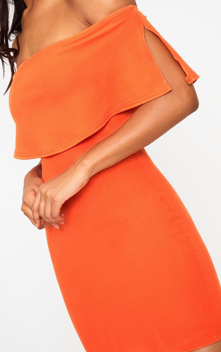 Bright Orange Bardot Frill Bodycon Dress  5