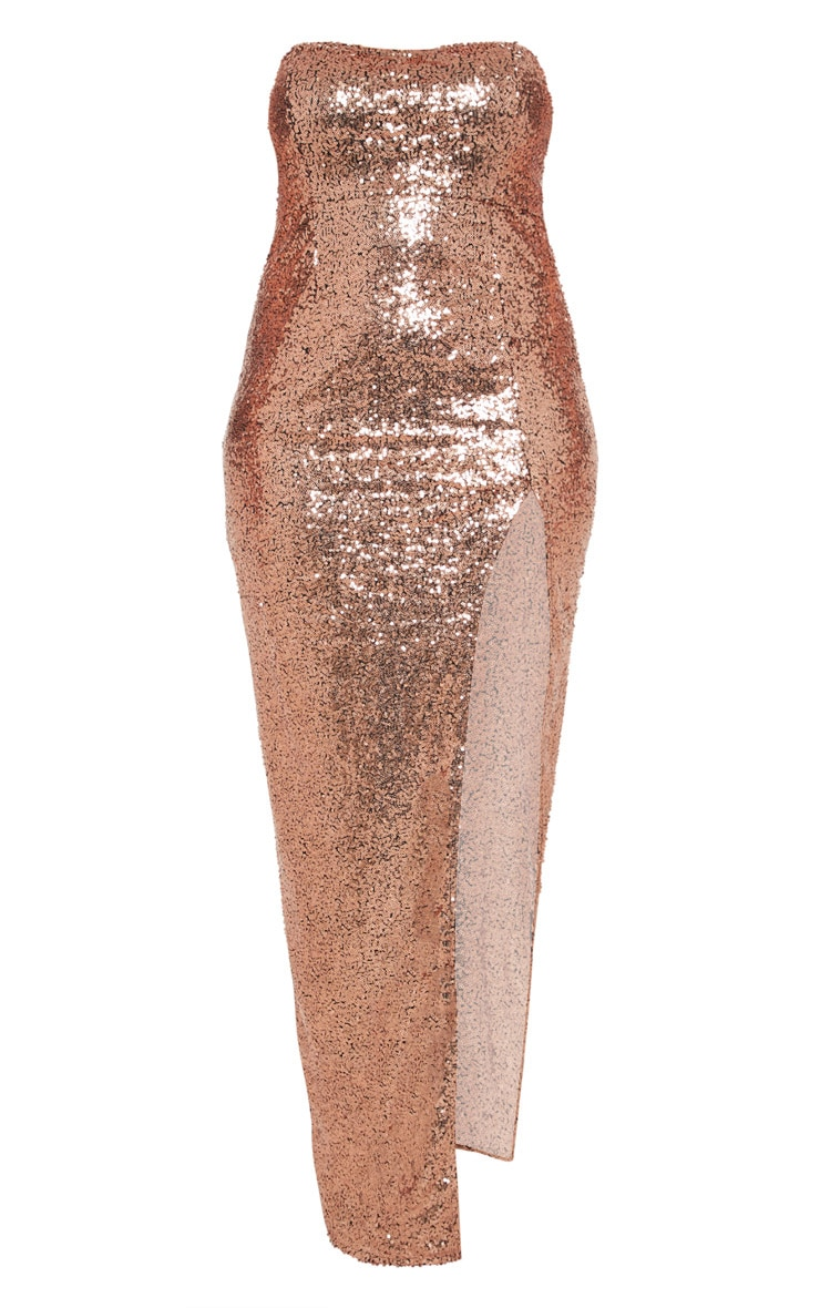 Plus Bronze Bandeau Sequin Split Front Maxi Dress 3