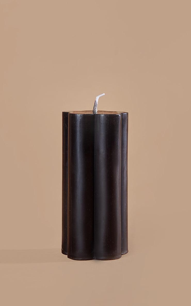 Black Flower Pillar Vanilla Scented Candle 3
