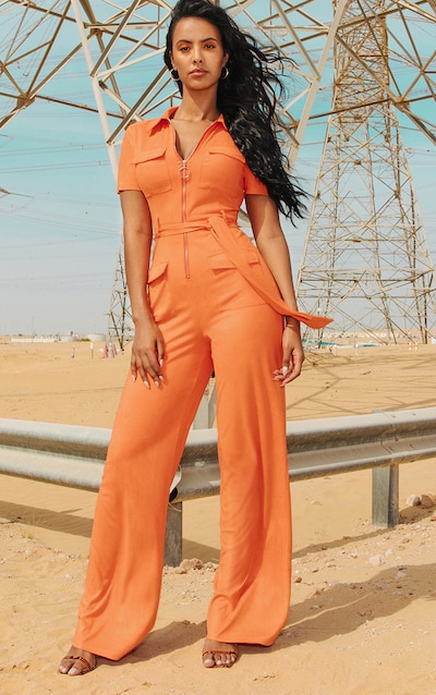 ac5387a0954 Orange Faux Suede Zip Detail Jumpsuit