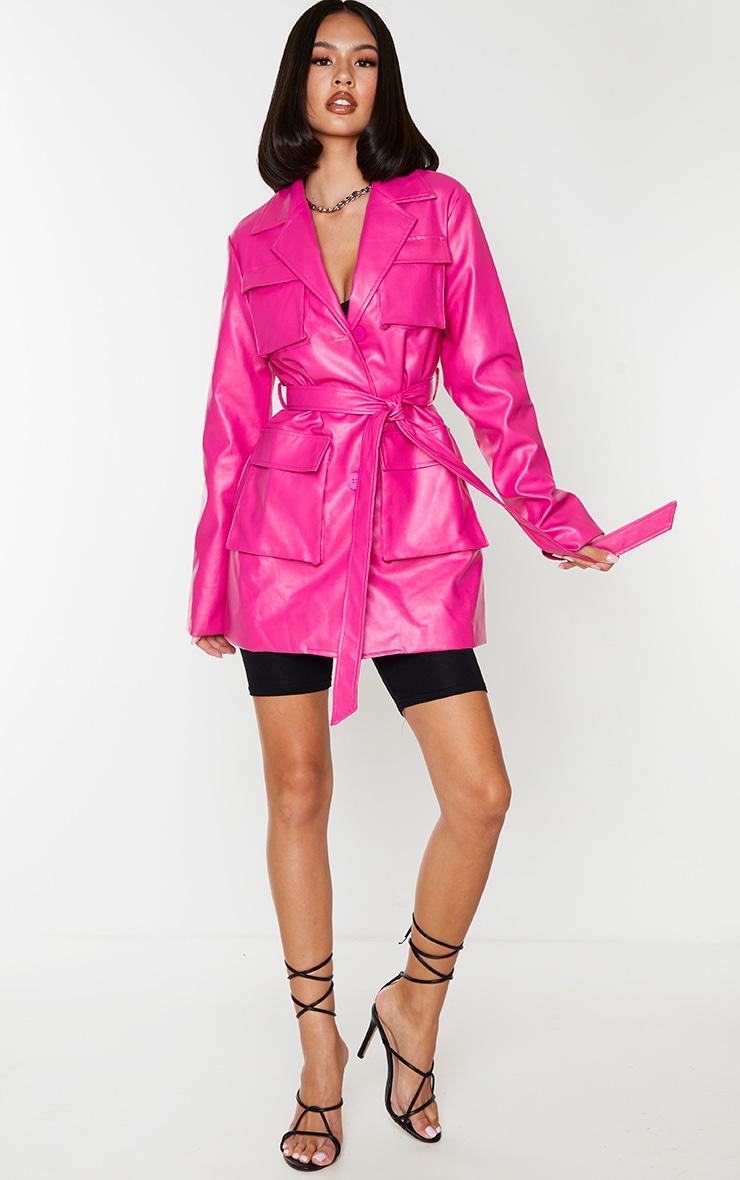 Hot Pink PU Longline Pocket Front Jacket 3